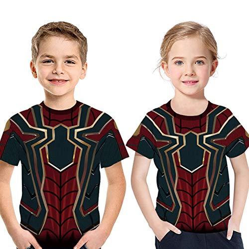 Buberryi Kind T-Shirt, 85% Polyester Superelastisch Atmungsaktiv Sommer Kurze Ärmel, Spiderman 3D Druck Kind/Männer Kleidung (kaufen EIN Geben),6XL