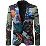 Sakko Blazer Herren Anzug Jacke Print Bunte Funky Casual Party Slim Fit One Button Mehrfarbig Medium