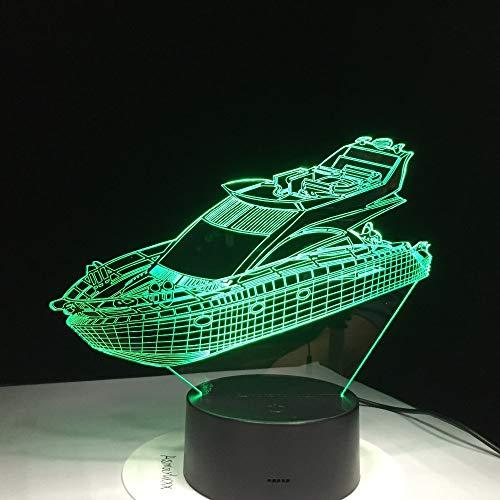 Yacht Boat 3D LED Lampada da tavolo 7 colori Atmosfera visiva Luce notturna per regali per bambini USB Lampara Illuminazione per il sonno del bambino Luminaria han-7437