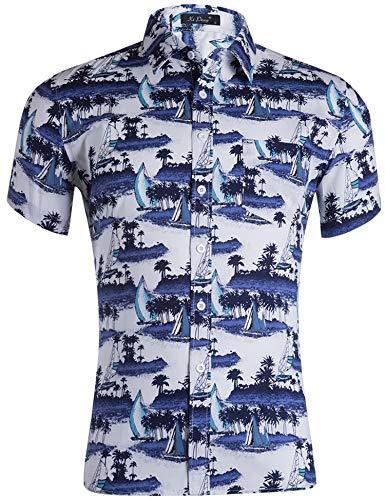 Loveternal Hawaii Shirt Männer Funky Casual 3D Druck Boot Hemd Freizeit Kurzarm Hemden Hawaiian Shirt Blau XL (Hawaiian Shirt Boot)