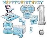 XXL 56 Teile Erster Geburtstag Blinke Kleiner Stern Blau Party Deko Set 16 Personen