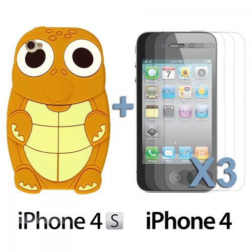 OBiDi - 3D Tortue Coque en Silicone / Housse pour Apple iPhone 4S / Apple iPhone 4 - Jaune avec 3 Film de Protection et Stylet Lightbrown