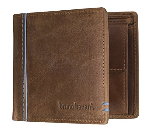 bruno banani Männer Geldbeutel aus Echt Leder im Querformat, Designer Geldbörse für Herren - Cognac & Blau 5330