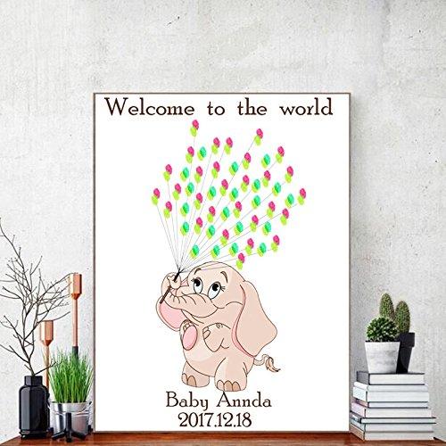 Fai da te impronta digitale firma pittura decorativa elefantino animale bambini compleanno festa festa decorazione murale pittura su tela,50x70cm