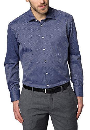 Eterna Long Sleeve Shirt Modern Fit Kettlancè Patterned blu marino/bianco
