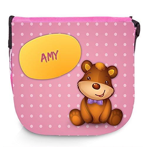 Umhängetasche mit Namen Amy und süßem Bären-Motiv | Schultertasche für Mädchen - Amys Bären