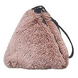 SUCES Damen Abendtasche Frauen Einfarbig Plüsch Umhängetasche Elegant Handytasche Mode Mini Tasche Freizeit Messenger Samt Handtasche (Rosa,Free)