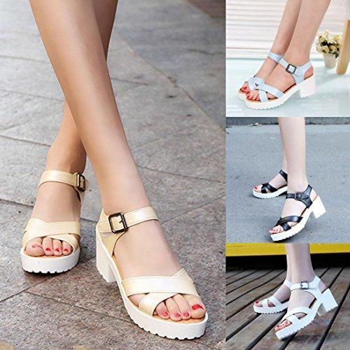 Transer® Damen Kitten-Heel Sandalen Einfach PU-Leder+Gummi Beige Blau Schwarz Weiß Sandalen (Bitte achten Sie auf die Größentabelle. Bitte eine Nummer größer bestellen) Weiß