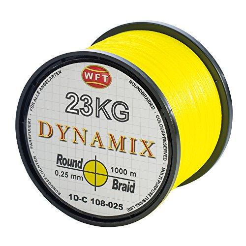 WFT Round Dynamix 1000m geflochtene Angelschnur, Durchmesser:0.25mm;Farbe:Gelb
