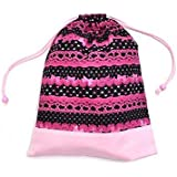 Change of clothes easily drawstring in the race and pattern (large size), gym clothes bag ribbon Pretty cute (black) x Ox pink made in Japan N3360600 (japan import) by COLORFUL CANDY STYLE