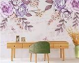 BHXINGMU Mural Murales En 3D Hojas Y Mariposas Florales Papel Tapiz De Tv Grande Decoración Mural 300Cm(H)×450Cm(W)