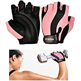 XTRIM AEGIS - SOFT PINK ( S / M / L ) WOMEN LEATHER GYM GLOVES - Washable Real Leather, Durable, Double Stitched, 4-way Stretch Back Mesh, Half Finger Length, No Sweat, Extra Foam Padded, Luxurious Closure. Uses: Weight Lifting, Gym Gloves, Fitness Gloves, Work out Gloves, Palm Protection, Cross Country, Comfort, No Calluses, Grip Strength, Gift For Women.