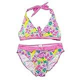 YoungSoul Mädchen Neckholder Bikinis mit tropischem Blumenprint Zweiteiler Bademode Schwimmanzug Rosa 176