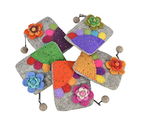 Feltro grigio chiaro montato con fiori e colorata borsa patch di moneta del regalo degli accessori grigio