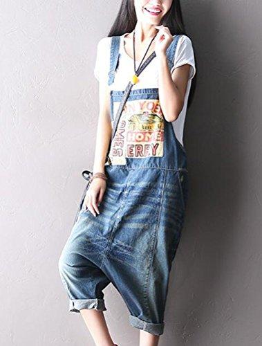 Voguees Femme Pantalon Large Loose Fit Denim Jumpsuit style 3 bleu