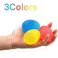 Ensemble de 3 Balles Thérapeutiques pour Renforcement de la Main et du Poignet NAKEEY Balles Ovales/Hand Grippers pour l'Exercice et la Rééducation de la Main