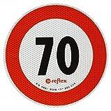 Geschwindigkeitsschild 70 km/h Italien 200mm selbstklebender Aufkleber italienische Hochgeschwindigkeitsbegrenzungsschilder für Kraftfahrzeuge