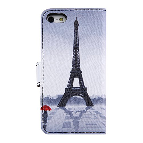 Coque pour iPhone 5C, Etui pour iPhone 5C, ISAKEN Peinture Style PU Cuir Flip Magnétique Portefeuille Etui Housse de Protection Coque Étui Case Cover avec Stand Support pour Apple iPhone 5C (Bouddhism Tour Fille