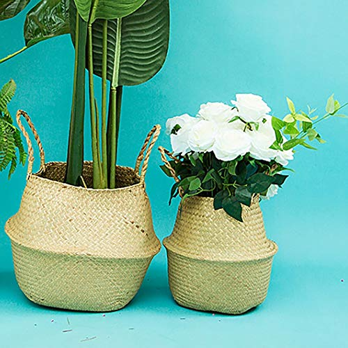 et Pot Belly Nordic Style Seaweed Woven Storage Folding Flower - Baby Clothes Linen Kids Yellow Medium Aqua Drawers Clothing Nesting Plastic Green Unicorn Gold Decorat ()