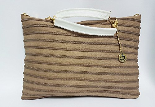 BORSA A MANO E TRACOLLA COLOR BEIGE BY GHOST ZIP MADE IN ITALY