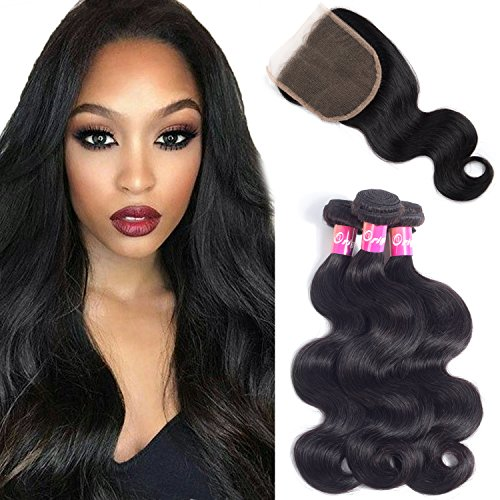 """Brazilian Body Wave Virgin Hair 3 Bundles With Closure Free Part 100% Unprocessed Human Hair Remy Hair Extensions Natural Color 100g/pcs By Originea(16""""18""""20""""+14"""")"""
