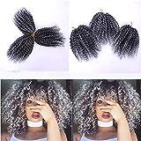 8 Zoll Kurze Marlybob Häkeln Haar 3 Bundles / Lot Verworrene Lockige Häkeln Zöpfe Ombre Flechten Haar Synthetische Haarverlängerung(1b-grey)