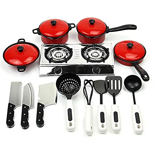 13 Pcs Kids Kitchen Playset Toddler Pretend Play Kitchen Kit Cooking Sets Chef Toys Kitchen Cooking Food Utensils Pans Pots Dishes Cookware Educational Toys Durable and Useful