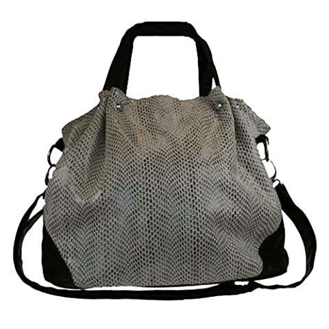 Fashion Handbag in Brown with all over Reptile Print 845-H (BROWN)