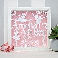 Amazon 25 50 handmade gifts handmade products personalised baby gift framed baby papercut baby name frame ballerina nursery art negle Choice Image