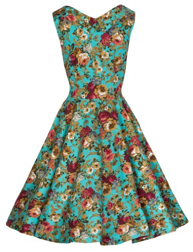 Lindy Bop 'Petite' 'Ophelia' Millésime 50's Fleuri Imprimée Robe de Swing Turquoise