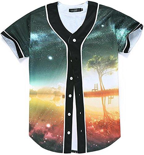 Pizoff Männer-T-Shirt mit Knopf rundhalsausschnitt kurze Ärmel Stil Hip-Hop Baseball Praxis Shirt lässig Tops steinhimmel galaxy meer insel baum Y1724-34-XL (Insel-chopper)