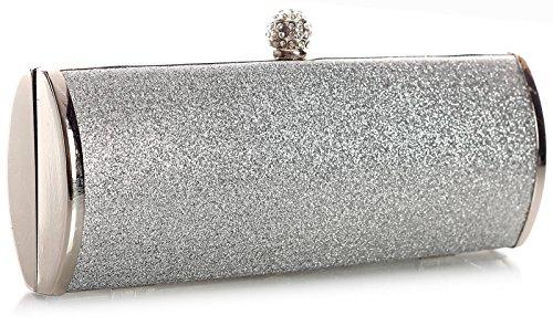 BHBS Pochette da donna alla moda, ideale per matrimoni, feste, serate, misura: 22 x 11 x 5 cm (L x A x P) Argento - Argento