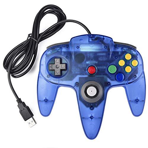 suily N64 Game Controller, Classic Retro N64 Bit USB Controller für Windows PC MAC Linux Raspberry Pi 3, klares Blau
