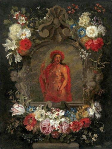 Forex-Platte 90 x 120 cm: Personifikation von Amerika, umgeben von Blumen von Jan Brueghel d.J.