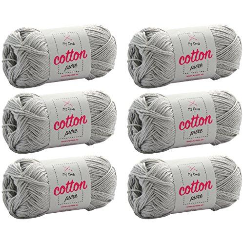 Baumwolle stricken *MyOma Cotton pure grau (Fb 0231)* Baumwollgarn zum Häkeln + GRATIS Anleitung - 6 Knäuel graue Baumwolle / Baumwolle grau - 50g/125m - Nadelstärke 2,5-3,5mm - 3 Größe Baumwollgarn