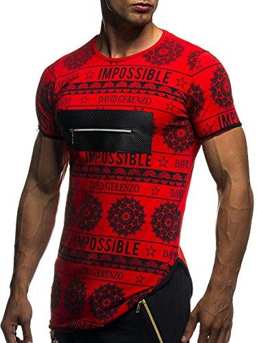 Männer Herren T-Shirt Oberteil Rundhals Freizeit Slim Weiß Rot Anthrazit Anthrazit