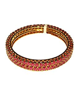 M Creation Gold-Plated Red Bangle Set For Women's