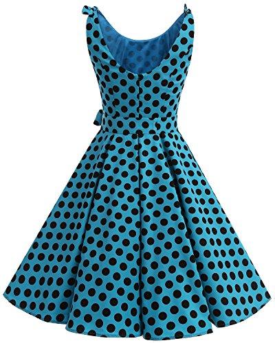 Bbonlinedress 1950er Vintage Polka Dots Pinup Retro Rockabilly Kleid Cocktailkleider Blue Black Big Dot