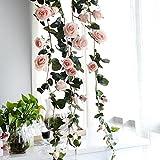 Lembeauty Faux lierre à suspendre avec Roses en soie artificielle Décoration Pour mariage, fête champêtre, Saint Valentin 1,8m