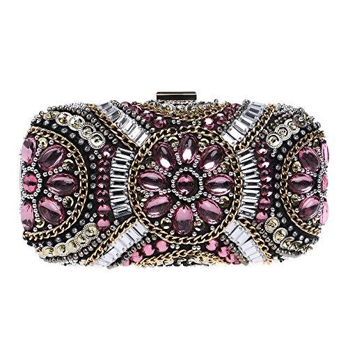 LPC Damenmode Perlen Abendtasche Kette Schulter Diagonale Einkaufstasche Joker Party Kleid Europa Und Amerika Kupplungen Taschen Für Frauen Diamant Handtasche Mode (Farbe : Pink)