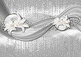 Fototapete abstrakte Lilien grau silber XL 350 x 245 cm - 7 Teile Vlies Tapete Wandtapete - Moderne Vliestapete - Wandbilder - Design Wanddeko - Wand Dekoration wandmotiv24
