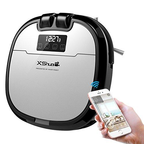 Saugroboter, Holife Staubsaugroboter Roboterstaubsauger 28W mit Wischfunktion(Videochatten mit Single-Kamera, 120min Laufzeit, Smartphone-App/Alexa/Fernbedienung, Direktabsaugung, 0.83L Staubbehälter)