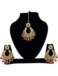 Traditional Gold Plated Kundan Earring Set With Maang Tikka For Women