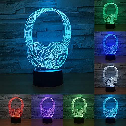 RUMOCOVO Auriculares 3D LED Luz De Noche 7 Colores RGB Auriculares LED Lámpara De Mesa Para Recámara, Decoración Para Dormir, Mejor Regalo de Navidad