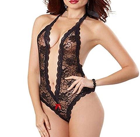 Tonwalk Sexy Women Plus Size Lace Dress Pijers de Nuit (L, Noir)