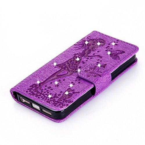 Für Apple IPhone 5s SE Fall, geprägtes Mädchen Muster Strass Premium PU Leder Geldbörse Fall Flip Stand Fall Deckung mit Halter & Lanyard & Card Slots ( Color : Darkblue ) Purple