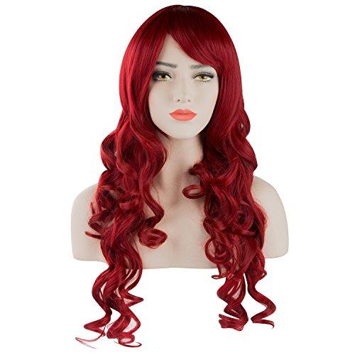 (Frauen Perücke Damen Dunkel Rot Lockig Gewellt Lang Kunsthaar Wig für Kostüm Karneval Halloween Cosplay Party von Discoball)
