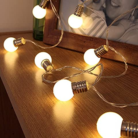 Mini Festoon String Lights - Battery Operated - Frosted Bulb - 10 Warm White LEDs - 1.5m by Festive