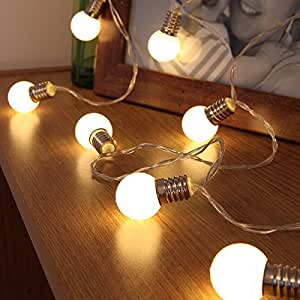 guirlande lumineuse d corative 10 mini ampoules rondes opaques led 1 50 m tre piles avec. Black Bedroom Furniture Sets. Home Design Ideas