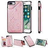 Miagon Flip Cover per iPhone 8 Plus / 7 Plus,Goffratura Gatto Ape Libro Portafoglio Pelle Case con Funzione Supporto e Porte Carte Chiusura Pieghevole Custodia,Oro rosa